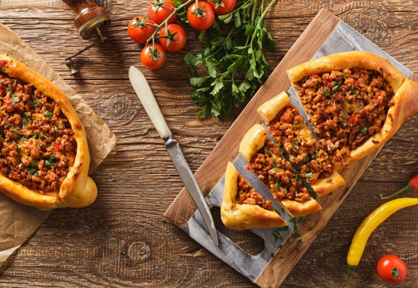 Turkish pide pizza with minced lamb