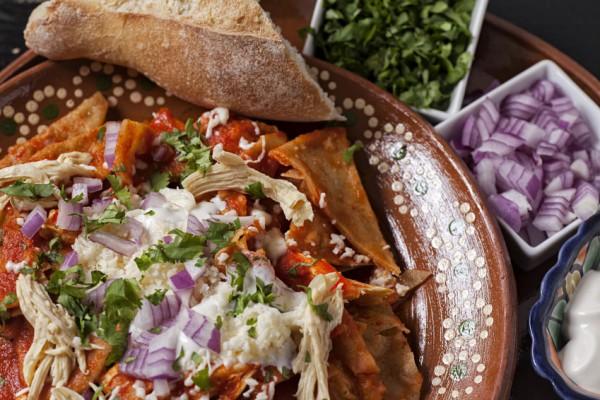 Chilaquiles with chicken and Mulato chili sauce
