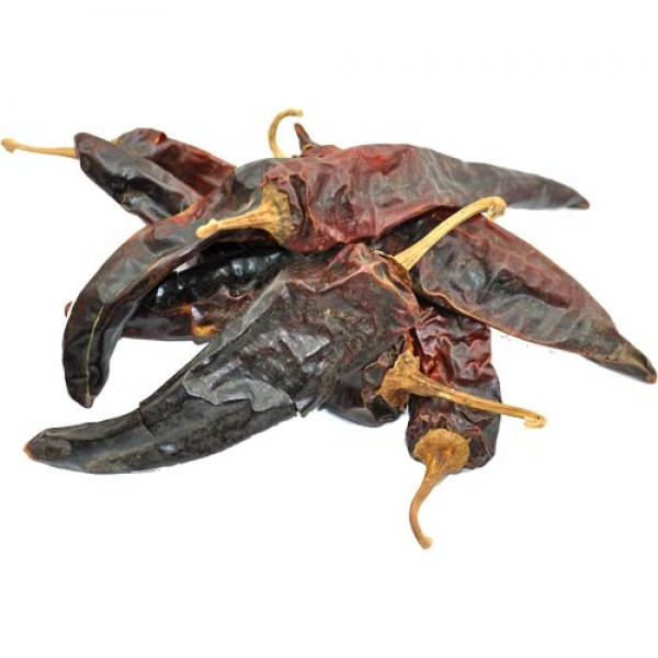Whole dried red Anaheim chillies